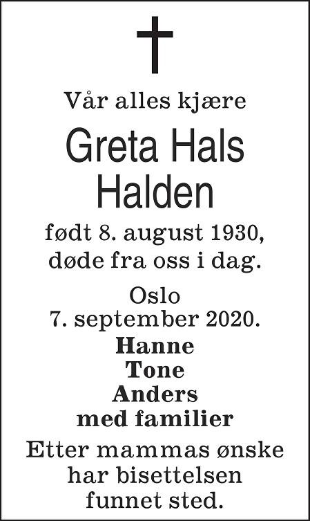 Greta Hals Halden Dødsannonse