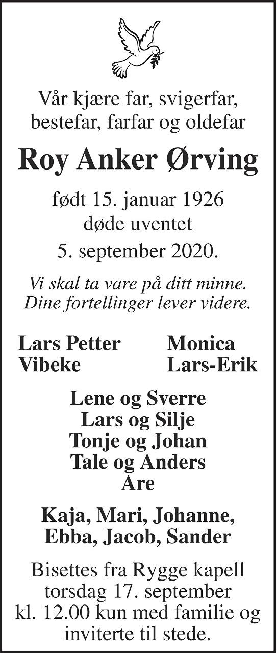 Roy Anker Ørving Dødsannonse