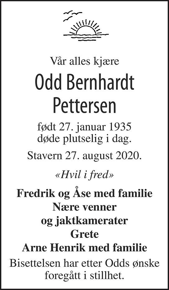 Odd Bernhardt Pettersen Dødsannonse
