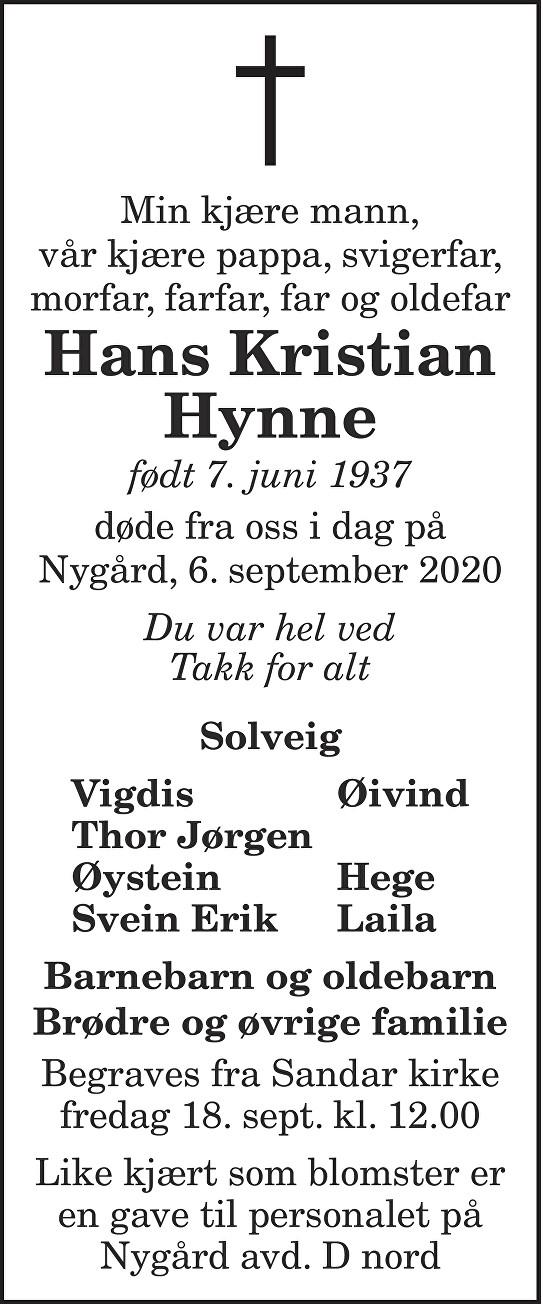 Hans Kristian Hynne Dødsannonse