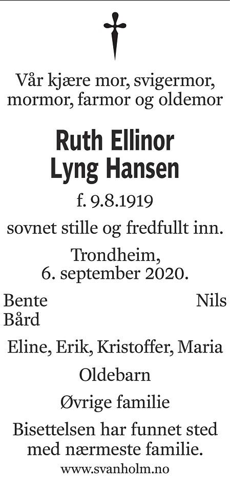 Ruth Ellinor Lyng Hansen Dødsannonse