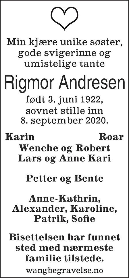 Rigmor Thora Andresen Dødsannonse