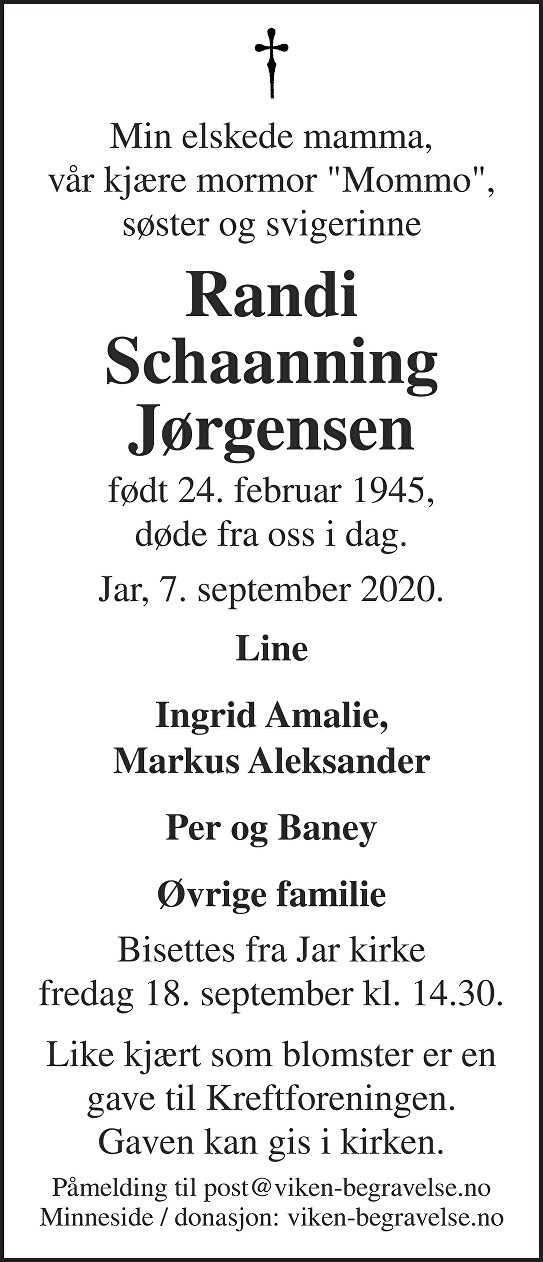 Randi Schaanning Jørgensen Dødsannonse