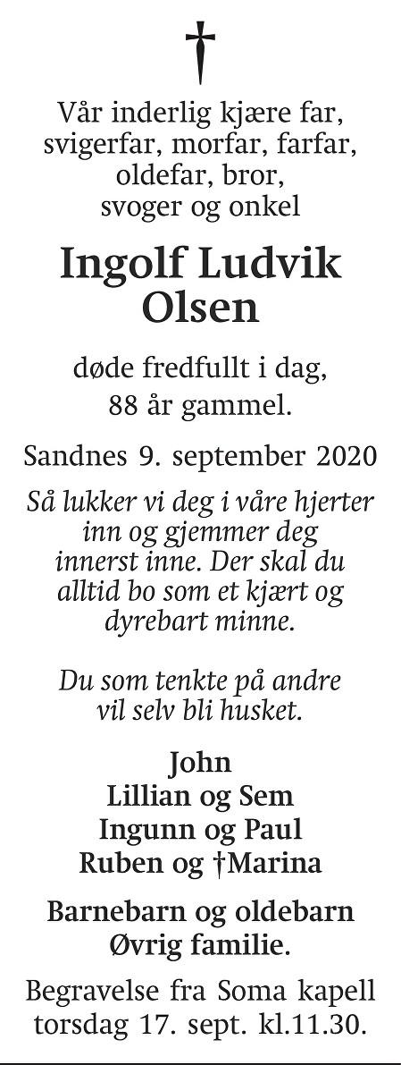 Ingolf Ludvik Olsen Dødsannonse
