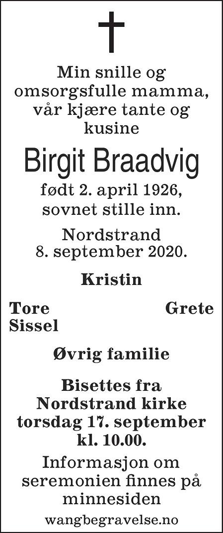 Birgit Braadvig Dødsannonse