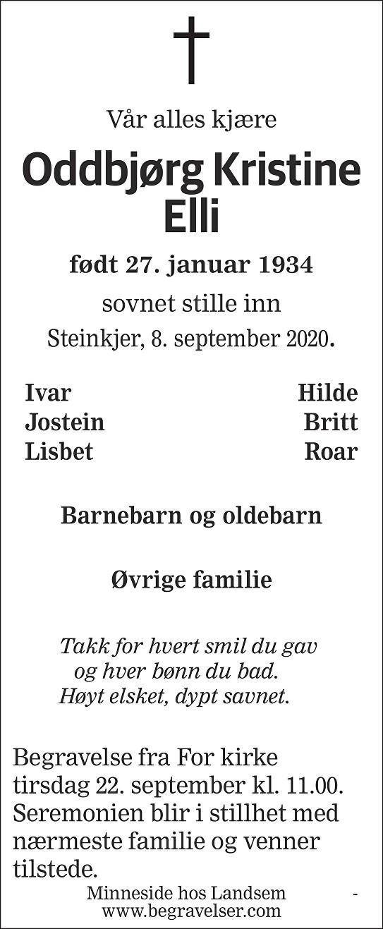 Oddbjørg Kristine Elli Dødsannonse