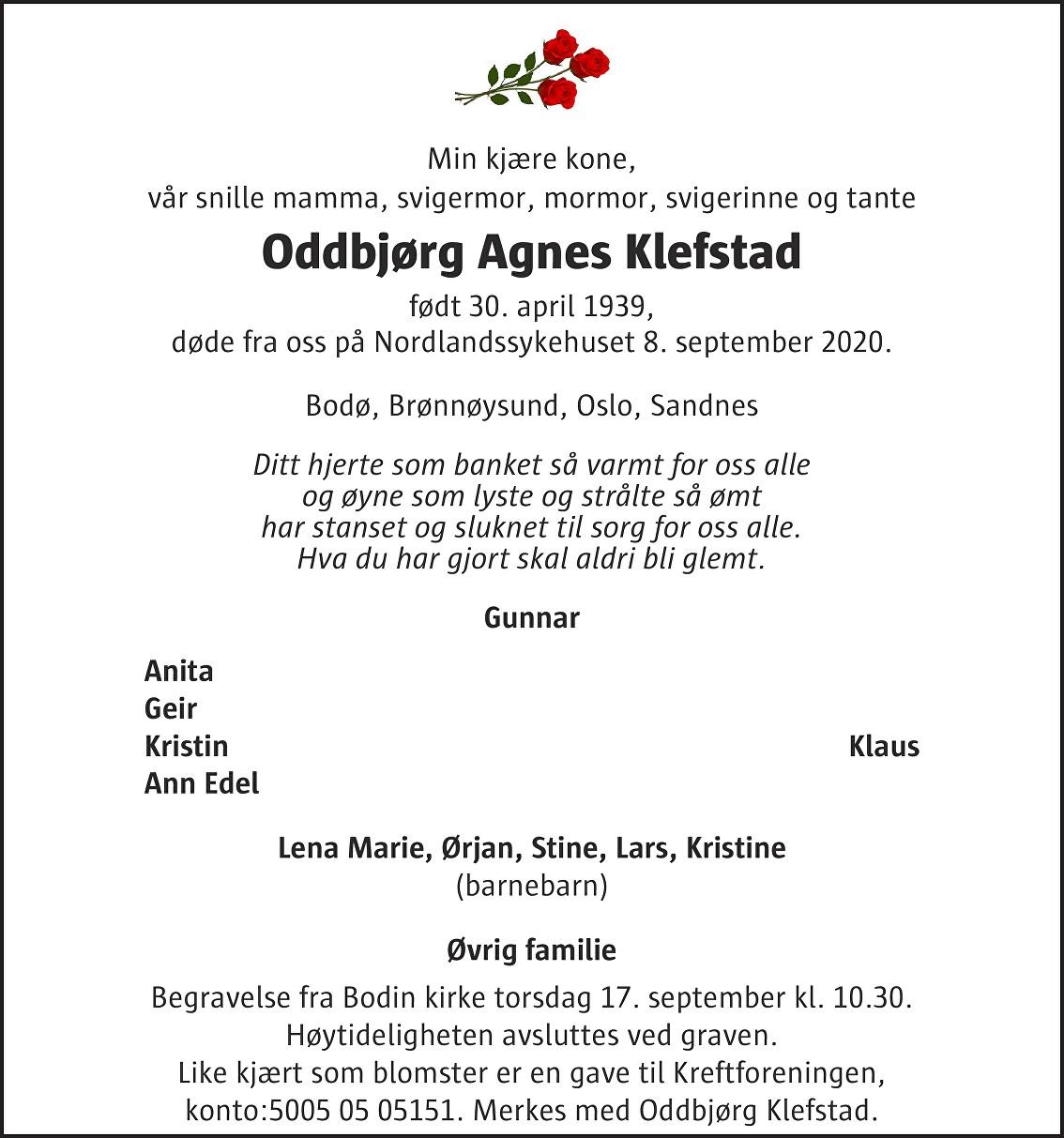 Oddbjørg Agnes Klefstad Dødsannonse