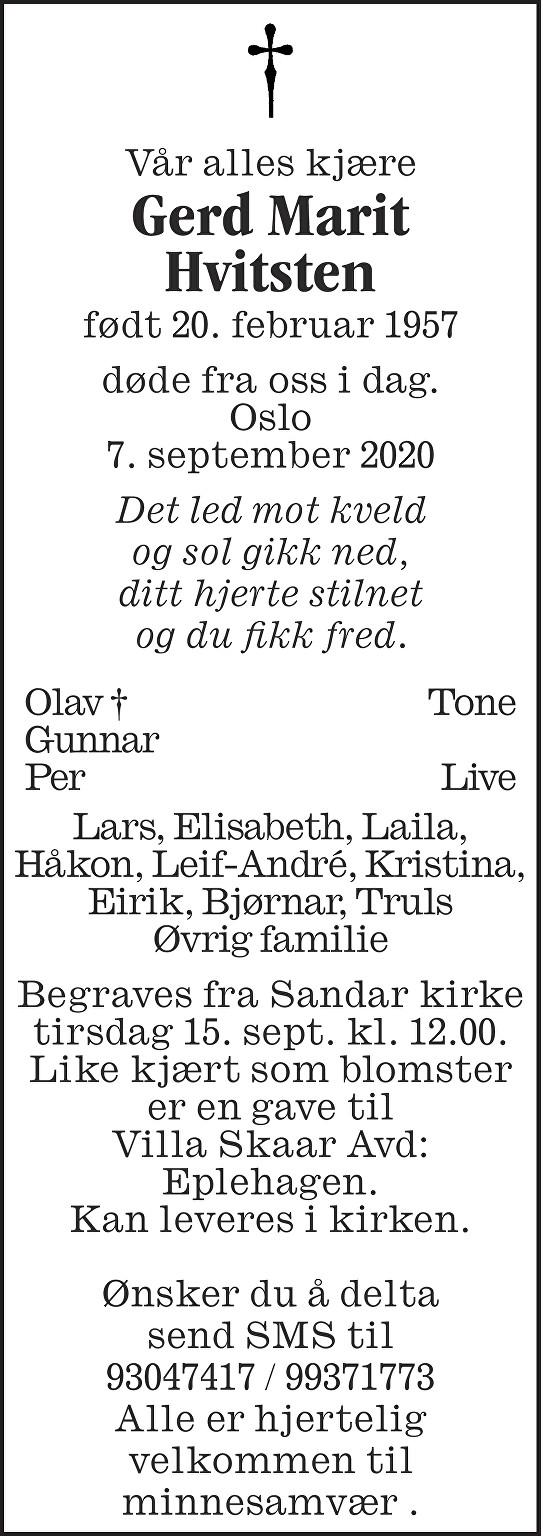 Gerd Marit Hvitsten Dødsannonse