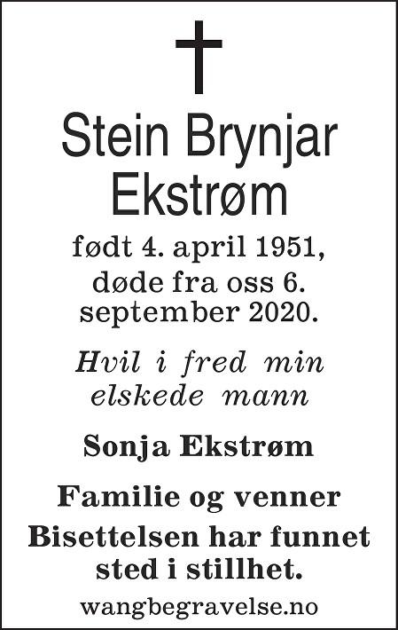 Stein Brynjar Ekstrøm Dødsannonse
