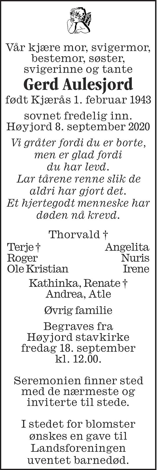 Gerd Aulesjord Dødsannonse