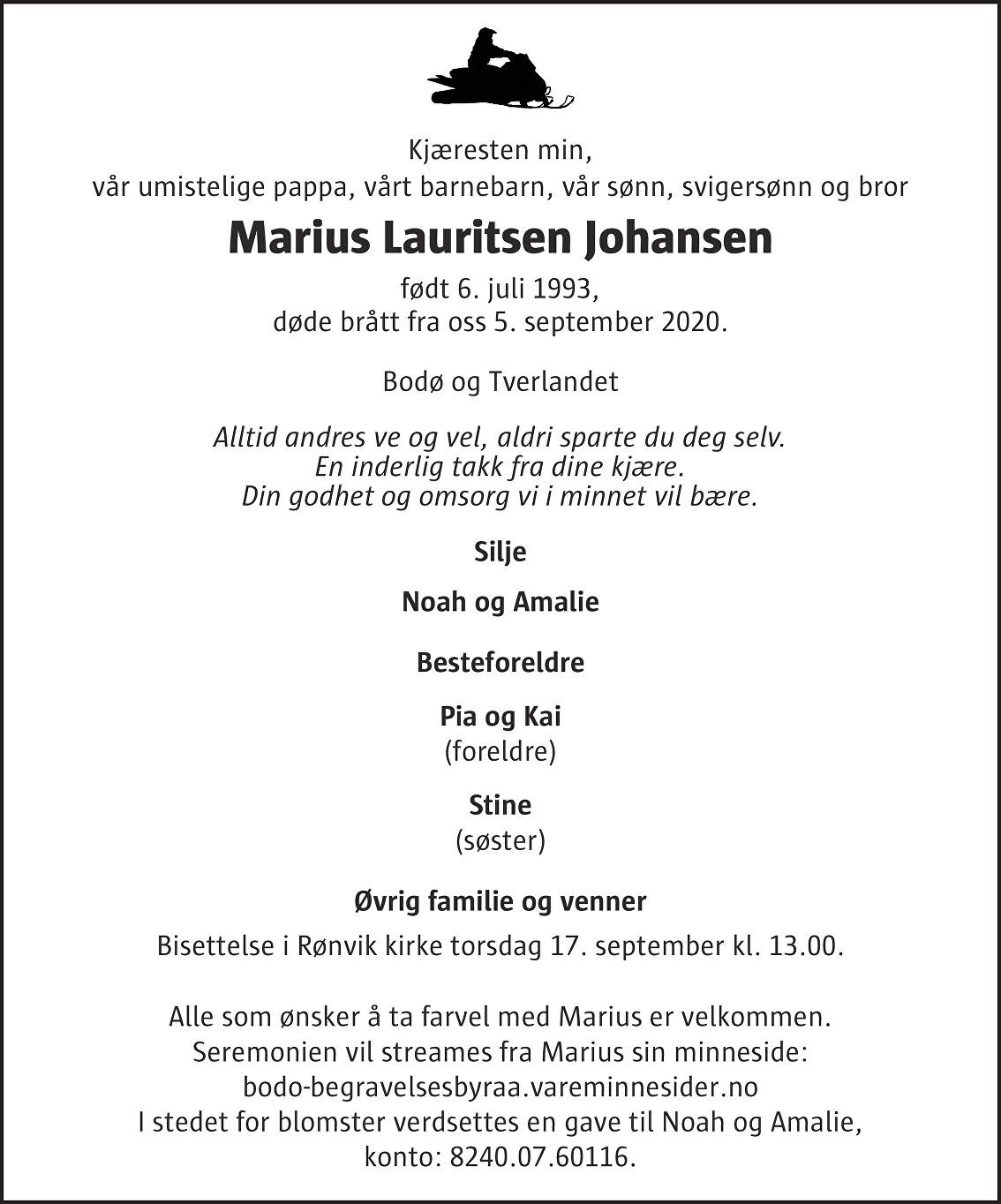 Marius Lauritsen Johansen Dødsannonse