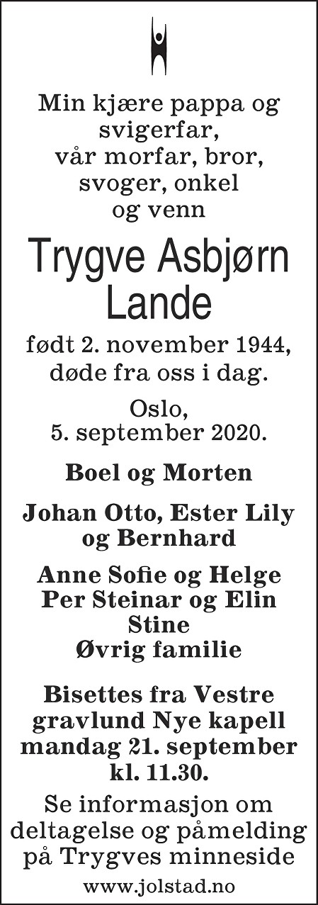 Trygve Asbjørn Lande Dødsannonse