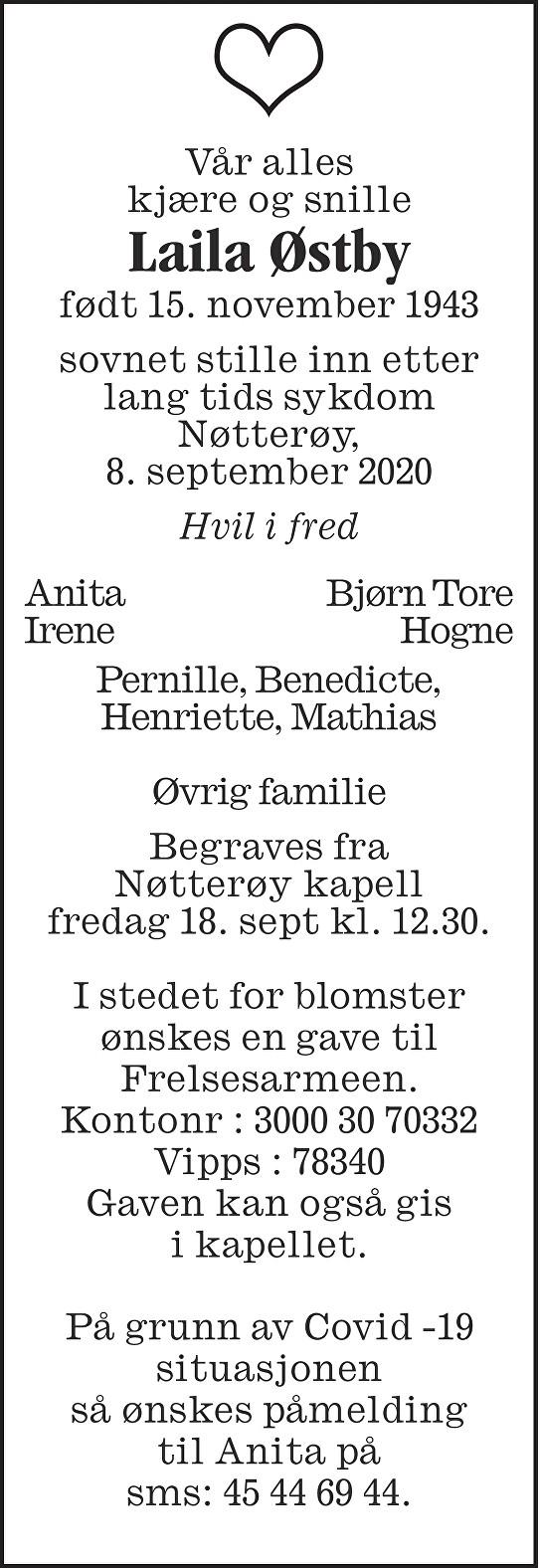 Laila Johanne Østby Dødsannonse