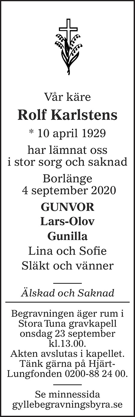 Rolf Karlstens Death notice