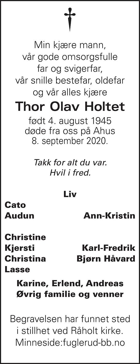 Thor Olav Holtet Dødsannonse