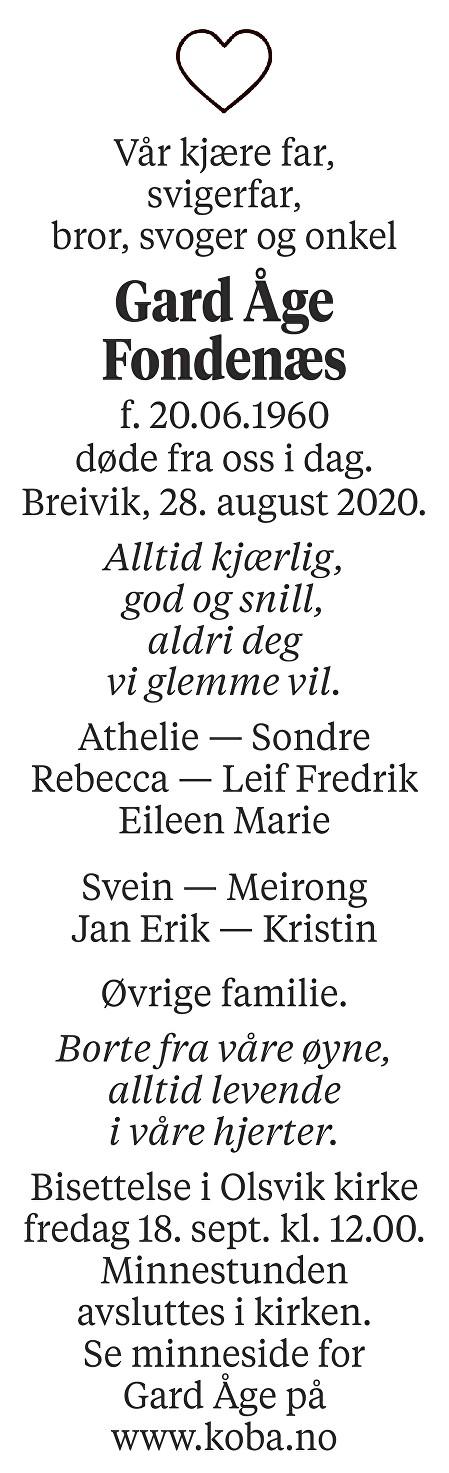 Gard Åge Fondenæs Dødsannonse