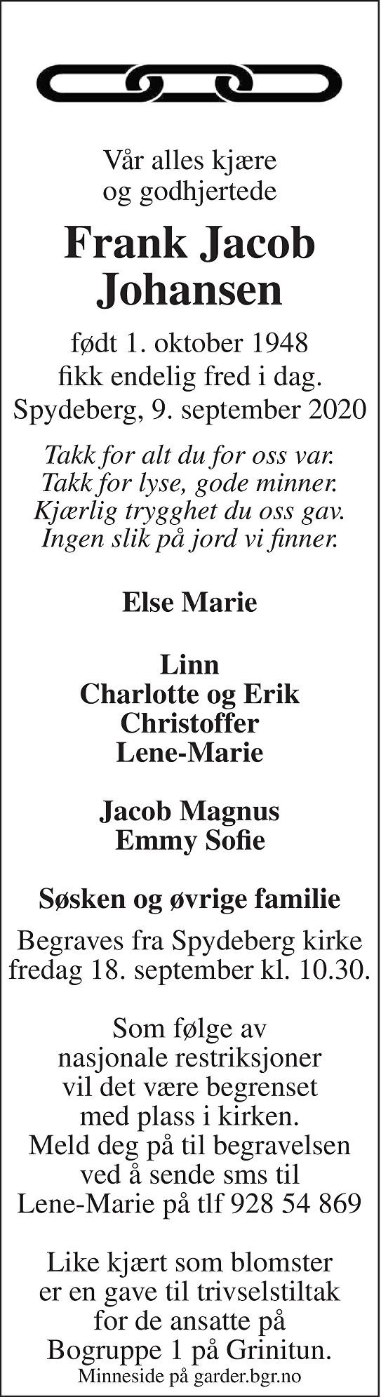 Frank Jacob Johansen Dødsannonse