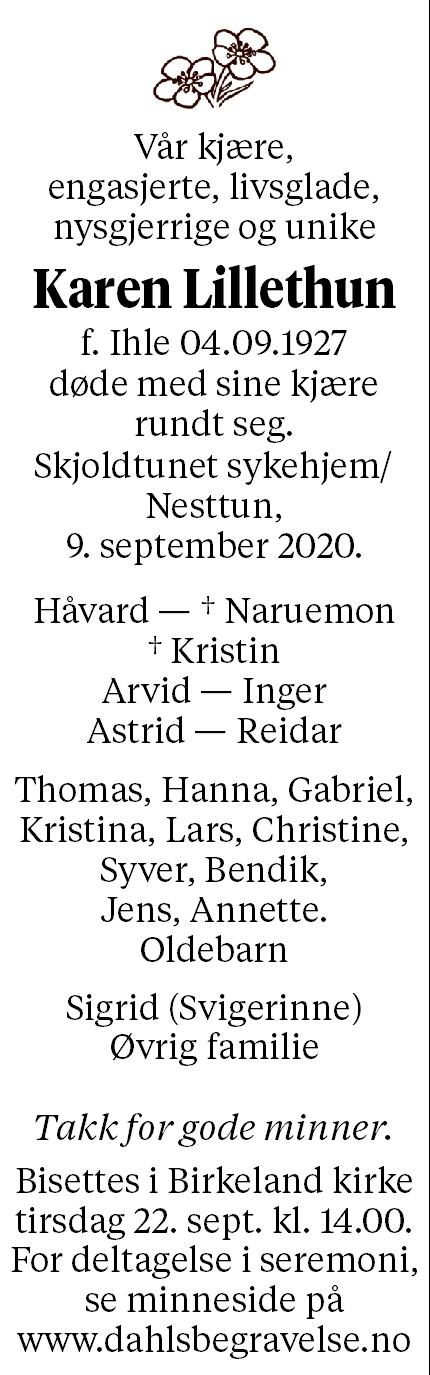 Karen Lillethun Dødsannonse