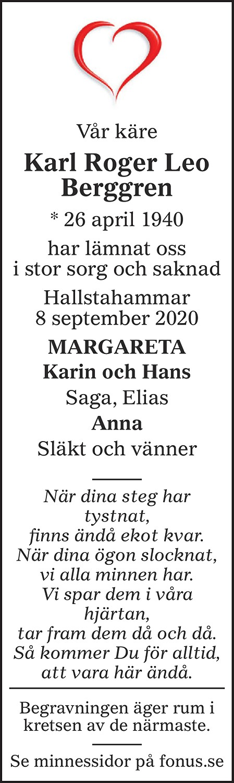 Karl Roger Leo Berggren Death notice