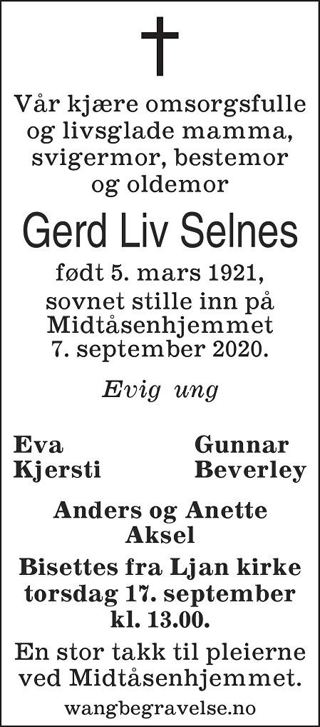 Gerd Liv Selnes Dødsannonse