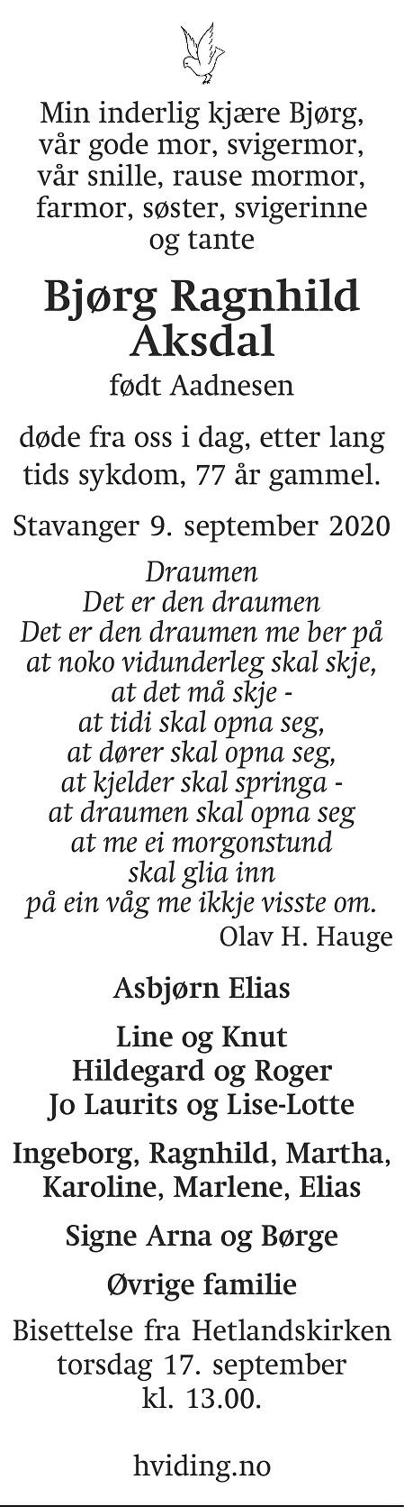 Bjørg Ragnhild Aksdal Dødsannonse