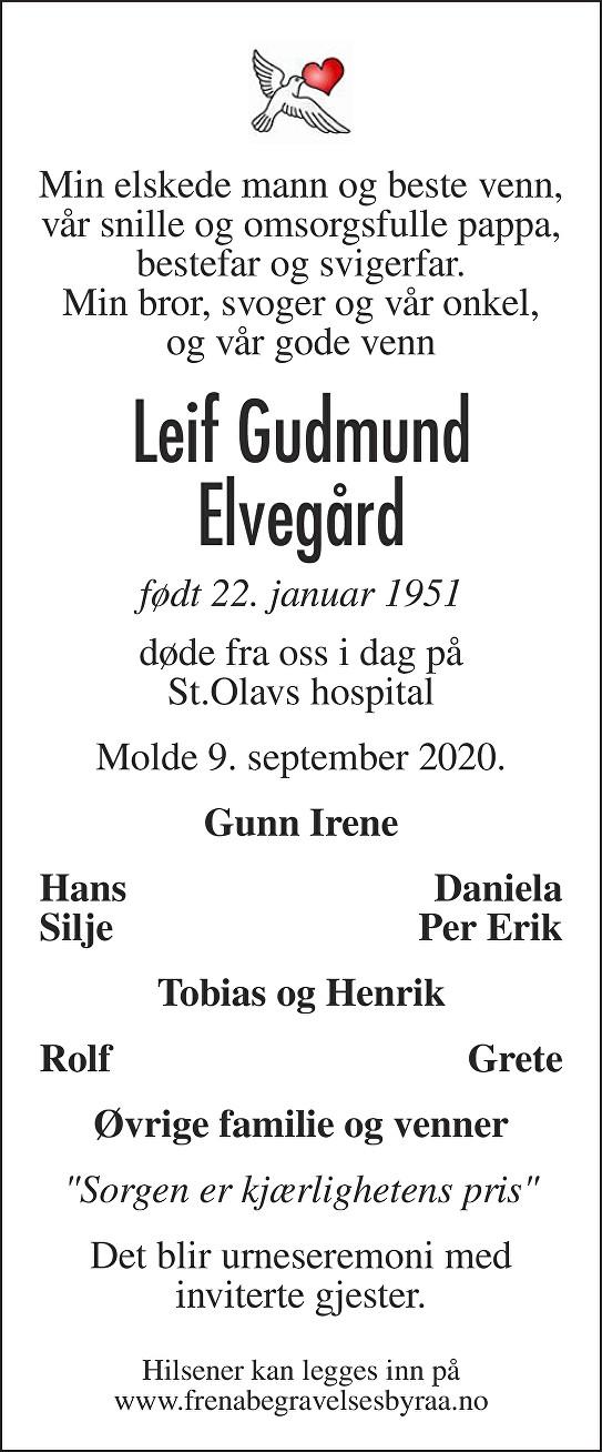 Leif Gudmund Elvegård Dødsannonse