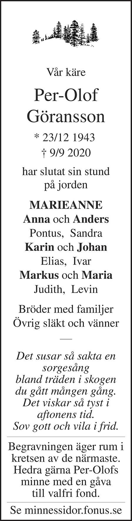 Per-Olof Göransson Death notice