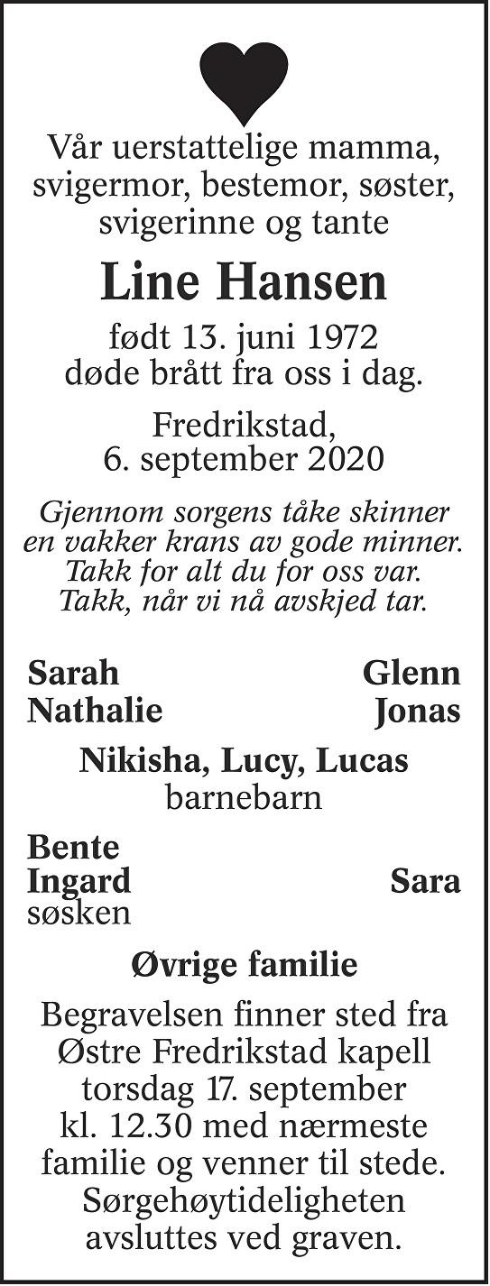 Line Hansen Dødsannonse