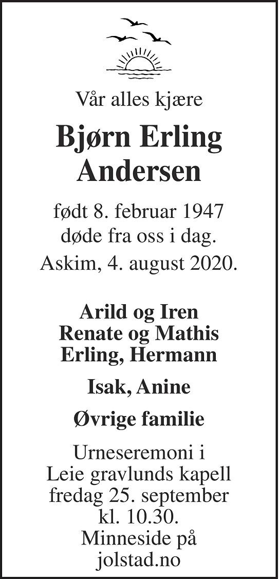 Bjørn Erling  Andersen Dødsannonse