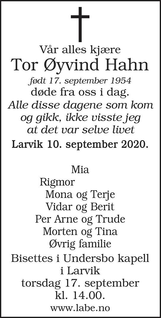 Tor Øyvind Hahn Dødsannonse