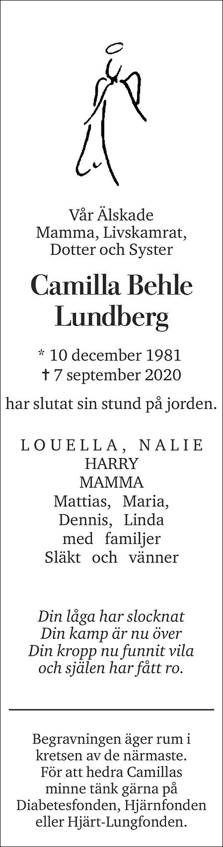 Camilla Behle Lundberg Death notice