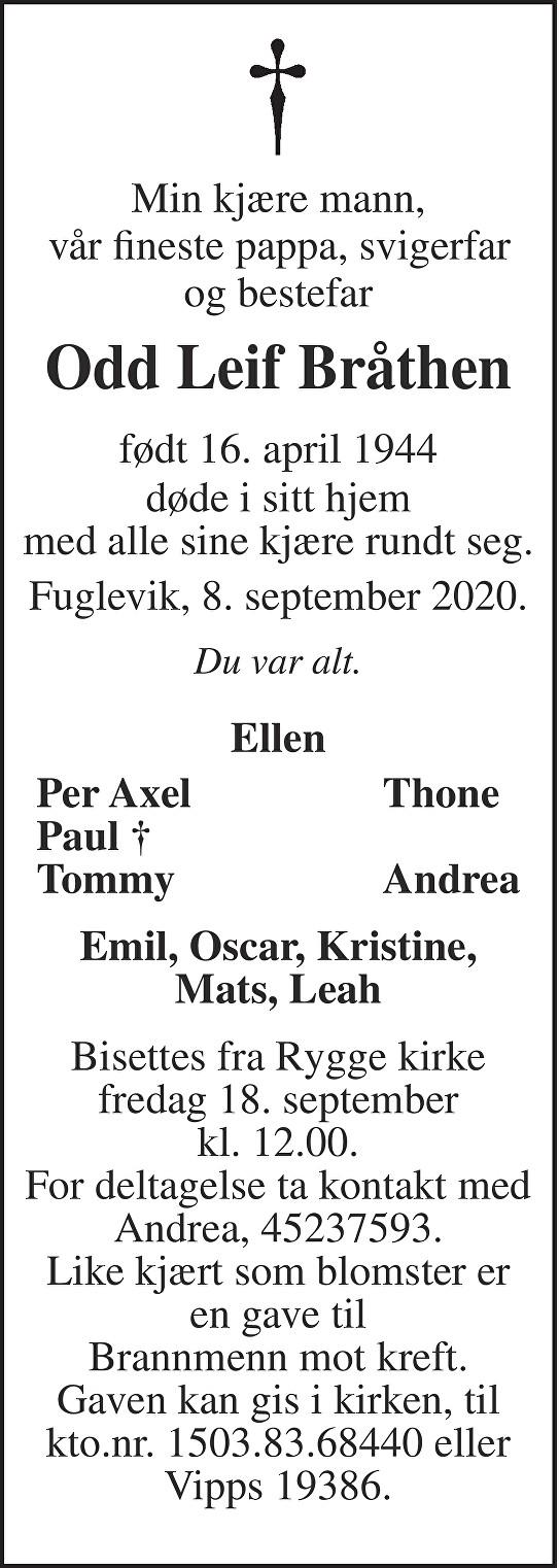 Odd Leif Bråthen Dødsannonse