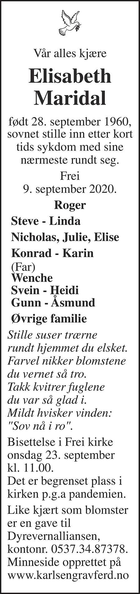 Elisabeth  Maridal Dødsannonse