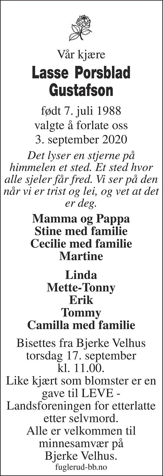 Lasse Porsblad Gustafson Dødsannonse