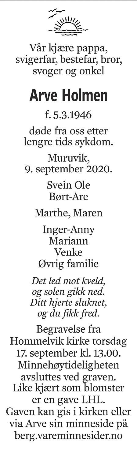 Arve Holmen Dødsannonse