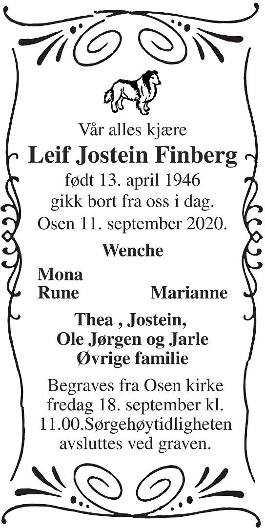 Leif Jostein Finberg Dødsannonse