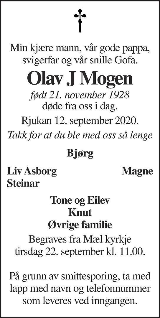 Olav J Mogen Dødsannonse