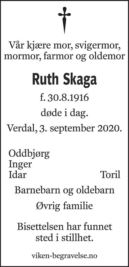 Ruth Skaga Dødsannonse