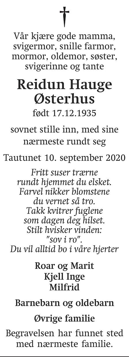Reidun Hauge Østerhus Dødsannonse