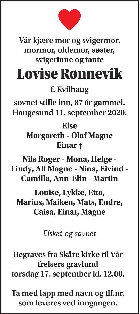 Lovise Rønnevik Dødsannonse