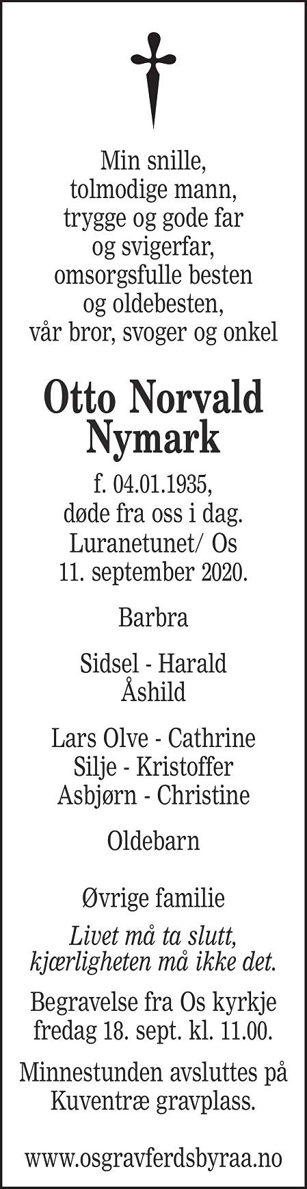 Otto Norvald Nymark Dødsannonse