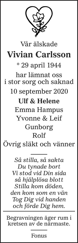 Vivian Carlsson Death notice