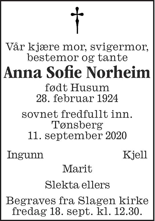Anna Sofie Norheim Dødsannonse
