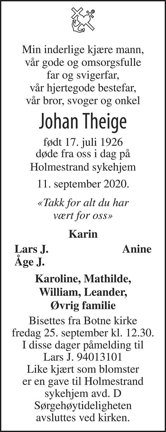 Johan Theige Dødsannonse