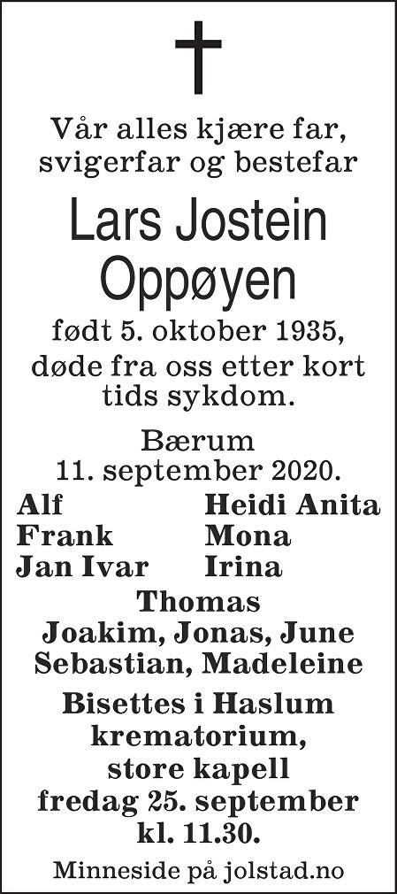 Lars Jostein Oppøyen Dødsannonse