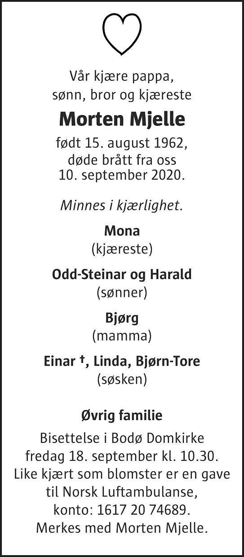 Morten Mjelle Dødsannonse