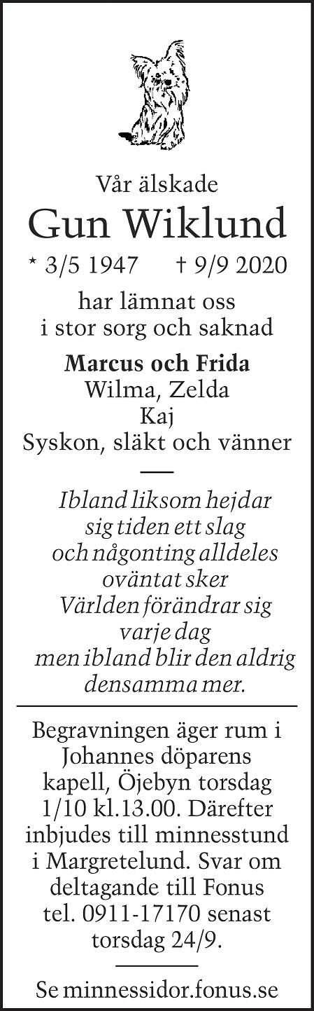 Gun Wiklund Death notice