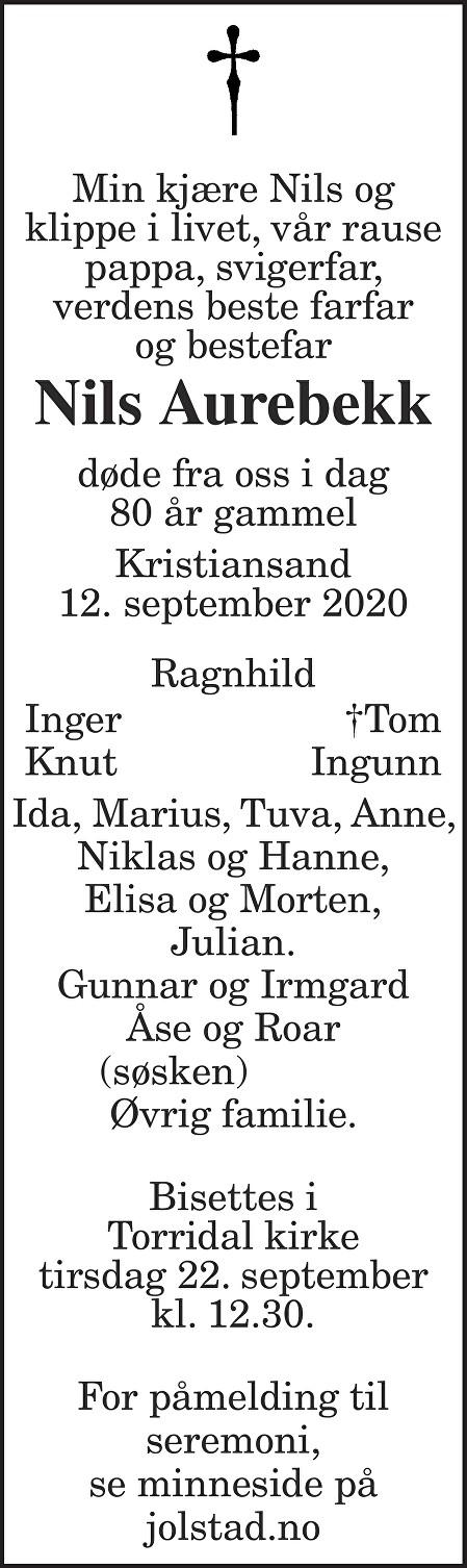 Nils Aurebekk Dødsannonse