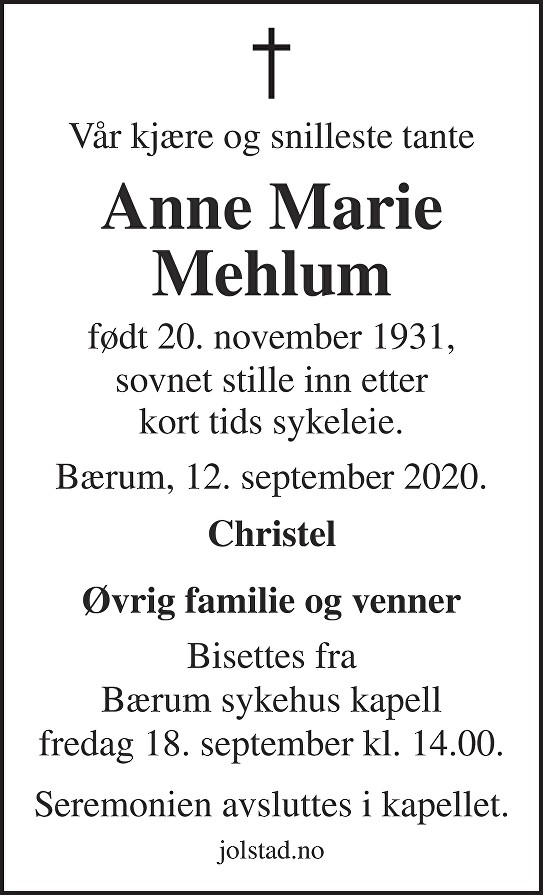 Anne Marie Mehlum Dødsannonse