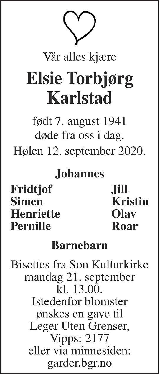 Elsie Torbjørg Karlstad Dødsannonse